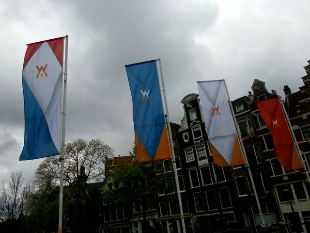 banners line Amsterdam bridges for the coronation