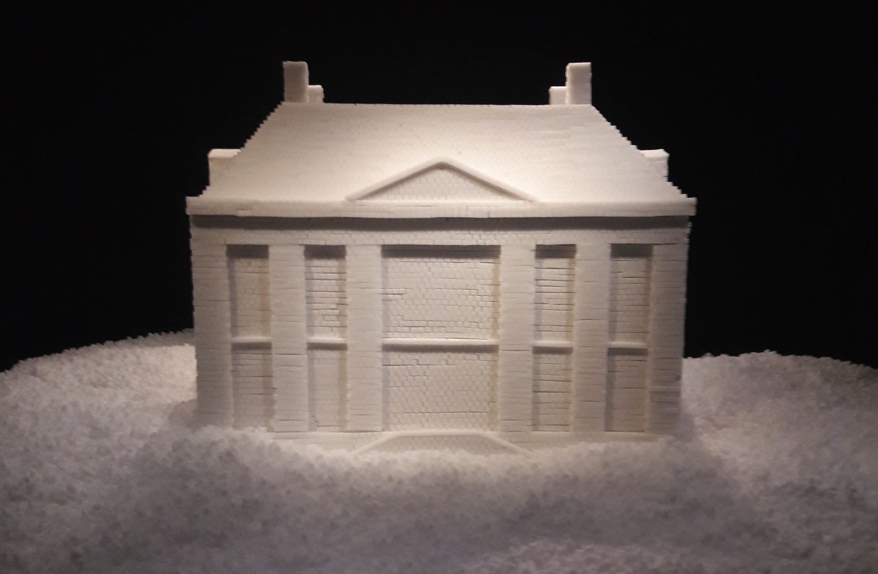 Model of Mauritshuis made of sugar cubes